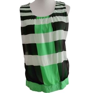 NY & Co| Blouse Green Mixed Stripe Sleeveless Tank